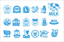 Milk Natural Product Logo Set, Dairy Product Labels Collection Vector Illustrations On A White Background