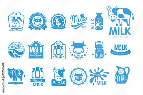 Fotografia Milk natural product logo set, dairy product labels collection vector Illustrati