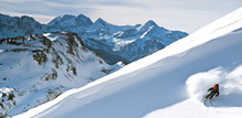Backcountry Skier In San Juan Mountains, Ophir, Colorado, USA