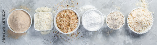 Stampa su Tela Gluten free concept - selection of alternative flours and ingredients, copy spac