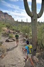 Active Couple Hikes Around Picketpost Mountain In The Tonto National Forest Near Phoenix, Arizona November 2011.