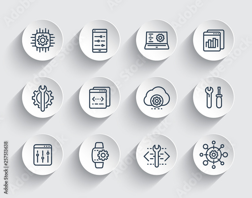 Fotografía  development, configuration, engineering, settings, repair service line icons set