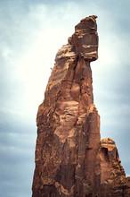 Climber Descending Moses Rock Tower, Moab, Utah, USA