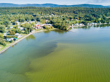 Aerial View Of Algal Bloom In St. Albans Bay, St. Albans Vermont.
