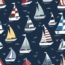 Marine Seamless Pattern With Cartoon Boats On Waves