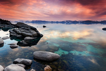 Rocks On The East Shore Of Lake Tahoe At Sunset Near Thunderbird Lodge.
