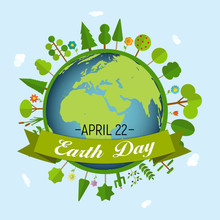 April 22, Earth Day Background Vector Illustration