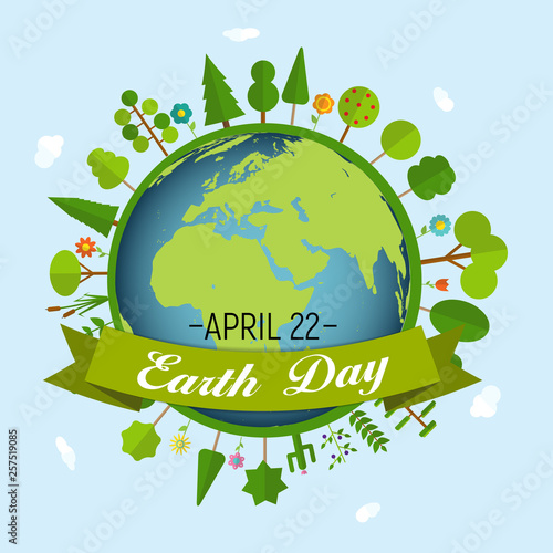 April 22, Earth Day Background Vector Illustration Canvas Print