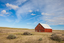 Old Red Barn In Field, Palouse...