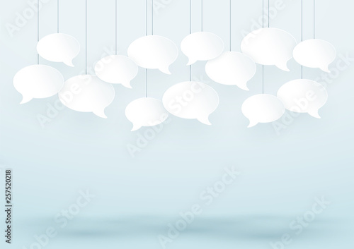 Speech Bubbles Hanging On Strings White 3d Vector - Buy this stock