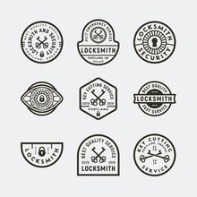 Set Of Vintage Locksmith Logos. Retro Styled Key Cutting Service Emblems. Vector Illustration