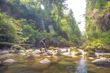 Man Crossing Stream In Kanaka Creek Regional Park, Maple Ridge, British Columbia, Canada