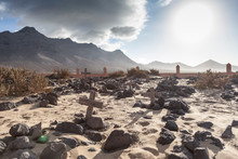 Abandoned Cemetery In The Desert In Cofete Beach, South Fuerteventura. Canary Islands