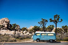 Travel Van In Desert