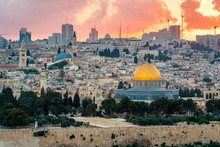 Jerusalem With Dome Of The Rock On Temple Mount At Sunset, Israel