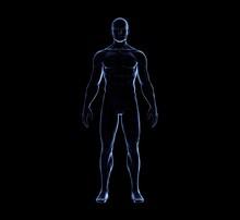 Human Man Body On Black Glow Silhouette, 3D Rendering