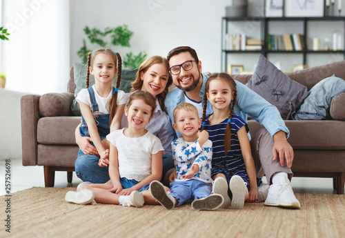 Fototapeta happy large family mother father and children   at home. obraz