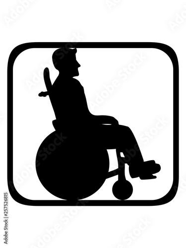 rollstuhl schild button silhouette behinderung gehen laufen