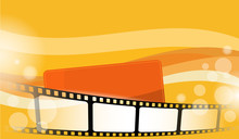 Collection Film Strip Frame Isolated On Colorful Background With Template For Text. Cinema Festival Poster, Banner Or Flyer Background. Movie Time And Entertainment Concept. Vector Illustration. EPS10