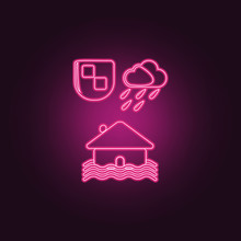 House Flooding Icon. Elements Of Insurance In Neon Style Icons. Simple Icon For Websites, Web Design, Mobile App, Info Graphics