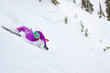 Male Skier Wipes Out Down A Snowy Slope