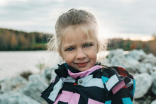 Portrait Of Young Girl Outdoors Walking