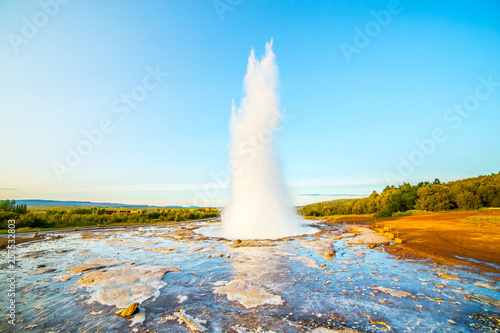 canvas print motiv - Marcin Krzyzak : A landscape with Geysir, one of the biggest attraction of Iceland