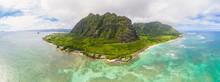 USA, Hawaii, Oahu, Ko'olau Range, Kualoa Point And China Man Hat Island