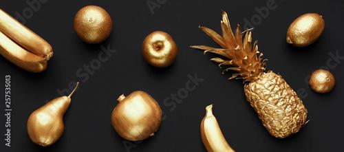Fotografie, Obraz  Collage of golden fruits