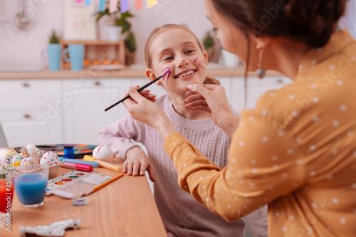 Fotografie, Obraz  Pleased mom and daughter spending weekend together