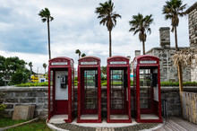 Bermuda, Old British Phone Cells In The Royal Naval Dockyard