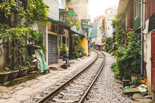 Railway Tracks In Old Town Alley, Hanoi, Vietnam