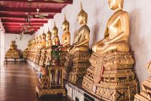 Thailand, Bangkok, Buddah Statues In A Temple