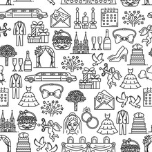 Marriage And Wedding Ceremony Seamless Pattern