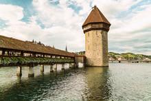 Chapel Bridge With Tower Lucerne, Switzerland