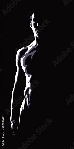 Nude torso of a man on a black background #257540631