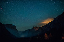 View Of Yosemite Valley From Tunnel View At Night. California, USA.