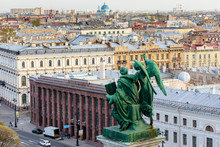 Aerial View Of St. Petersburg From Colonnade Of St. Isaac Cathedral, Russia
