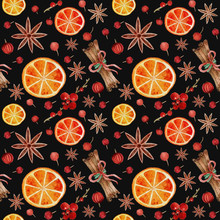 Seamless Pattern CHRISTMAS NEW YEAR Orange Cinnamon Anise Cranberries  Wrapping PACKAGING  Paper ON Black BACKGROUND