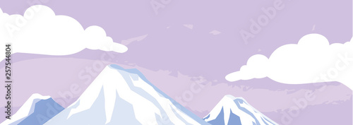 Tuinposter Purper mountains snowscape scene icon