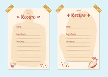 Modern Recipe Card Template Set For Cookbook. Menu Creator Vector Illustration. Kitchen Food Template