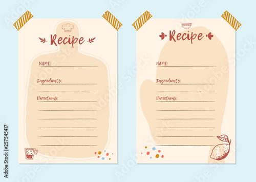 Fototapeta Modern Recipe card template set for cookbook. Menu Creator Vector Illustration. Kitchen food template obraz