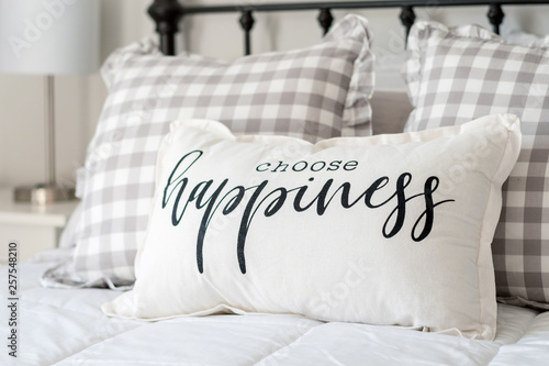 Bedroom decor - choose happiness pillow on iron bed Canvas