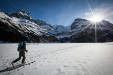 Man Cross-country Skiing At Opabin Plateau, Yoho National Park, Alberta, Canada
