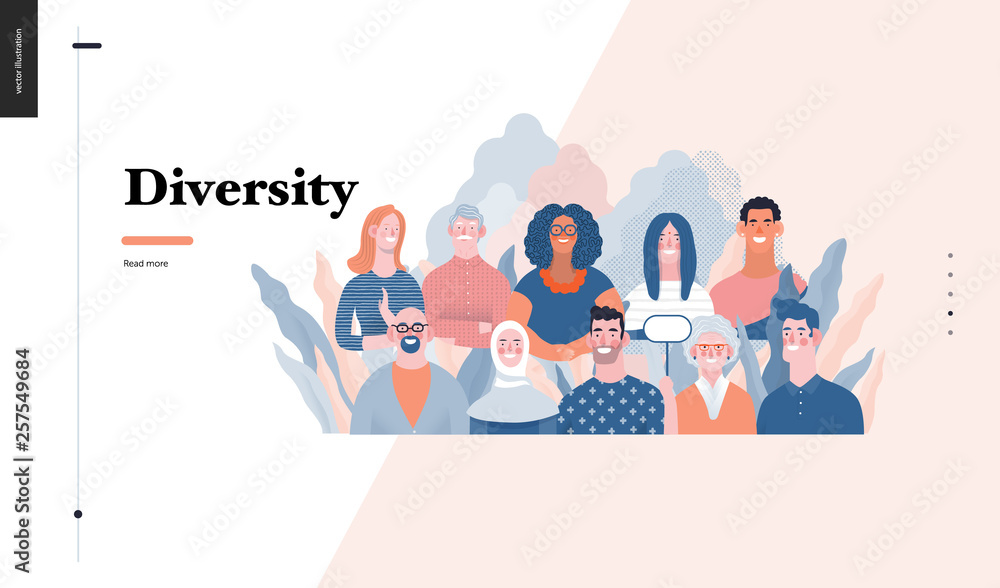 Fototapety, obrazy: Technology 3 - Diversity - modern flat vector concept digital illustration of various people presenting person team diversity in the company. Creative landing web page design template