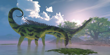 Agustinia Dinosaur Swamp - Agustinia Dinosaurs Wade In A Wetland Swamp Full Of Banyan Trees During The Cretaceous Period.