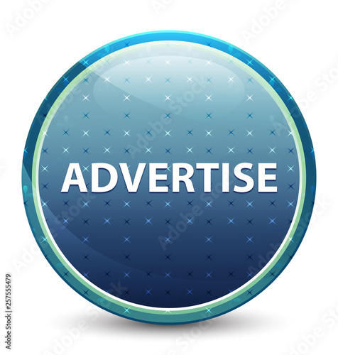 Fotografía  Advertise shiny sky blue round button
