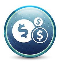 Finances Dollar Sign Icon Shiny Sky Blue Round Button