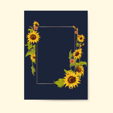 Blank Sunflower Card Template