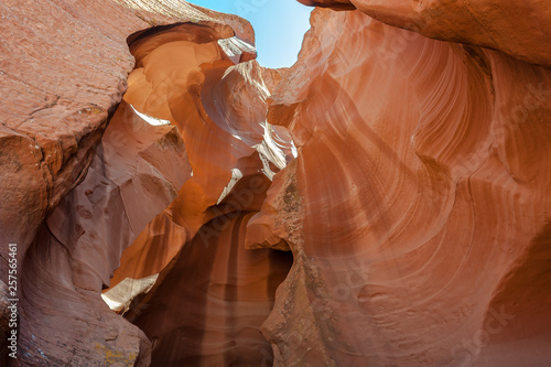 View from inside Antelope Canyon near Page, Arizona. This canyon was formed by flash flood rain water moving aggressively through the sandstone.